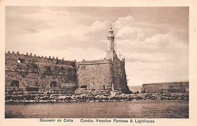 HERAKLION, CRETE, GREECE, VENETIAN FORT & LIGHTHOUSE, CANDY SHOP ADV c. 1904-14