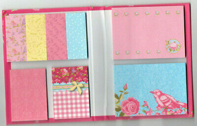 8 Sticky Notes - Pink Blue Yellow - Sizes 2.75x2.75 2x1.25 1.75x.75 Bird