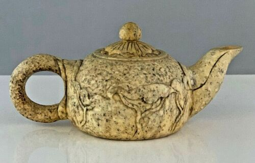 Chinese Teapot and Tray Carved Stone with Chinese Characters