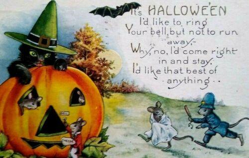 Vintage Halloween Whitney Postcard Black Cat Witch Police Mice Syracuse NY 1924