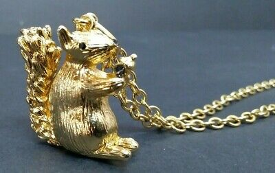 "TALBOTS SQUIRREL WITH ACORN GOLDTONE 34"" CHAIN NECKLACE Jeweled Eyes Nose"