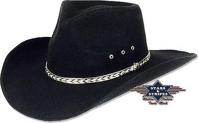 Westernhut Cowboyhut Schwarz »KANSAS« Country Mexikanischer Fauxfelt Hut S&S NEU (Cowboy Hut Schwarz)