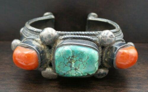 Beautiful Massive Antique Tibetan/Himalayan Sterling Silver & Gemstone Bracelet