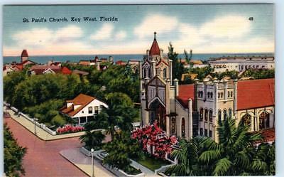 KEY WEST, Florida  FL    Birdseye  ST. PAUL'S CHURCH  ca 1940s Linen   Postcard