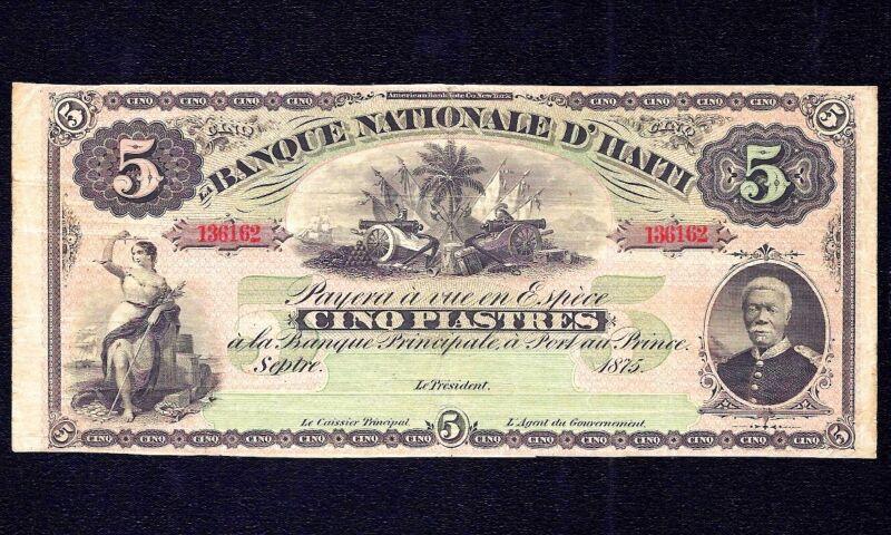 HAITI 5 Piastres 1875  P-72 * Justice * aVF