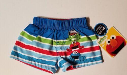 SESAME STREET ELMO Infant Boys 0-3 3-6 6-9 18 24 Months Shorts SWIM TRUNKS NWT
