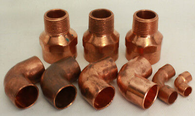 Lot Of Assorted Copper Plumbing Fittings Mostly 90 Degree Elbow Fittings