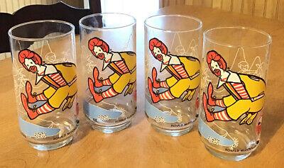 Vintage 1977 McDonalds Action Series Ronald McDonald Set Of 4 Glasses NOS