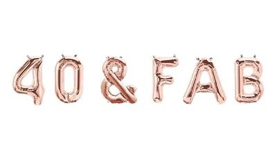 """40 & Fab - 16"""" Rose Gold Letter Balloons - 40th Birthday - 40 Balloons - US SHIP"""