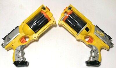 NERF N-Strike Yellow Maverick Rev-6 Revolver Blaster Gun Lot of 2 EUC