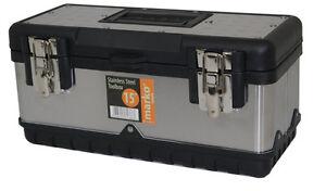 Stainless Steel Tool Box 3 Sizes DIY Heavy Duty Garage Storage Metal Tools NEW