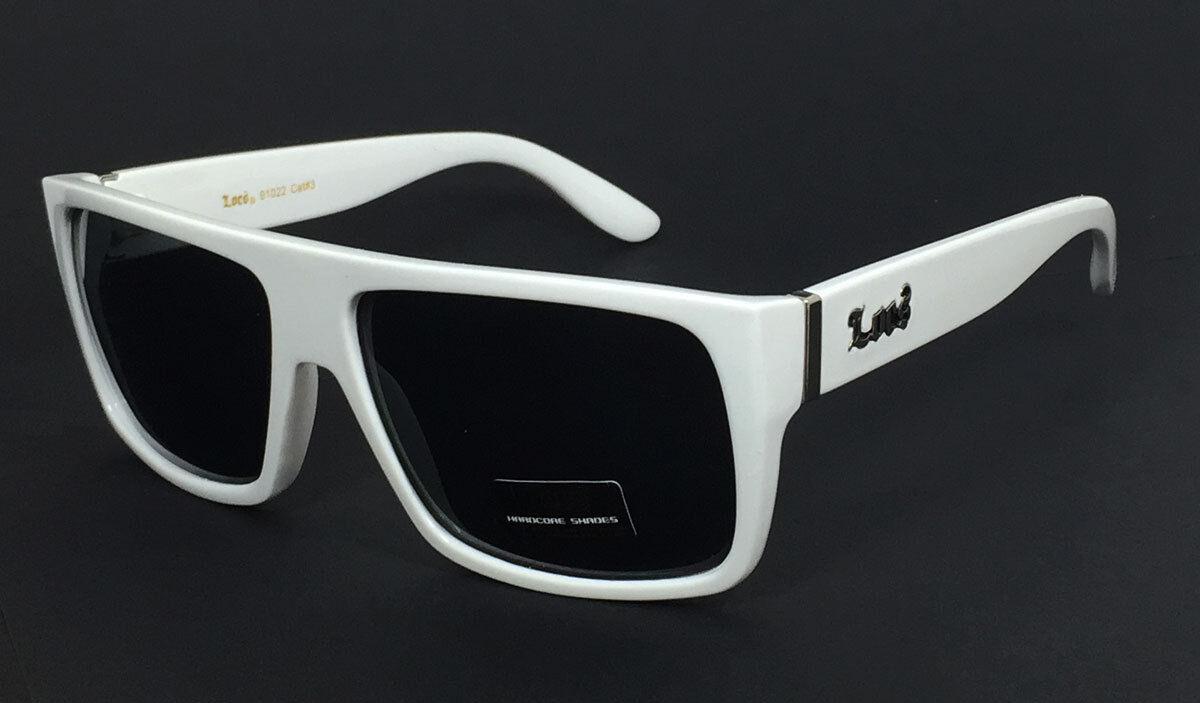 Locs Mens Cholo Biker Flat Top Sunglasses White Frame// Black Lens LC81