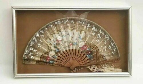 Antique Hand painted Silk Fan in Silver Gilt Frame