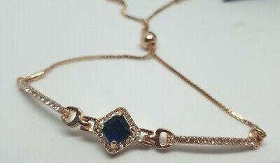 Jon Richard Rose Gold Tone Blue Pave Cubic Zirconia Toggle Bracelet Rrp £15.