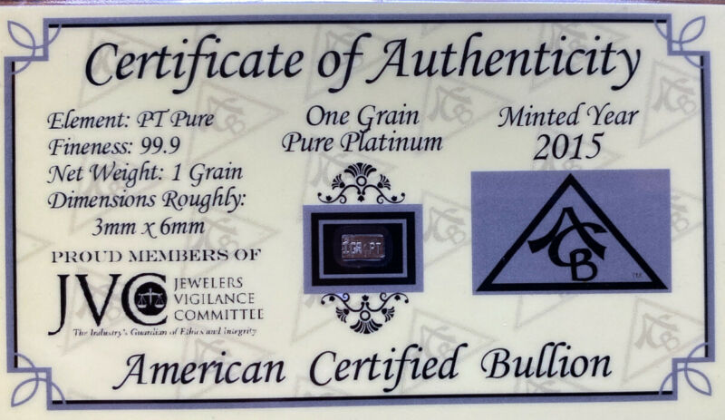 American Certified Bullion - One Grain Of Pure Platinum 2015-4
