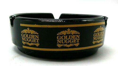 Golden Nugget Casino Black Glass Vintage Souvenir Ashtray Las Vegas Nevada
