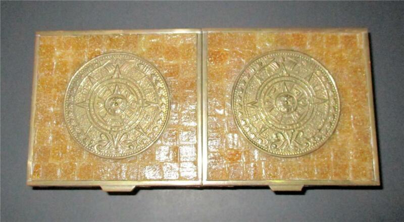 Vintage Aztec Myan Mexico Brass Trinket Cigarette Box Double Lids Mid Century
