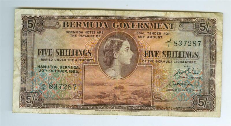 BERMUDA 1952 FIVE SHILLINGS P-18a FINE