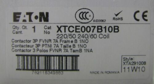 Eaton Cutler Hammer Klokner Moeller XTCE007B10B contactor  220 240 v coil 7 amp