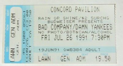 BAD COMPANY & DAMN YANKEES CONCERT 1991 - TICKET STUB