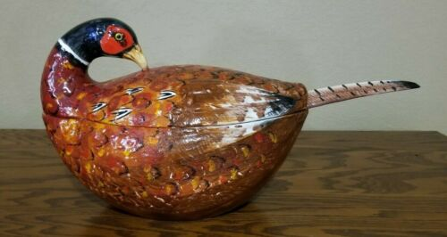Vintage Italian Ceramic Pheasant Soup Tureen W/ Ladle Handmde for Neiman Marcus