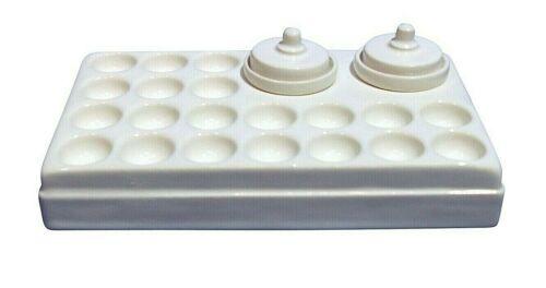 WHITE Ceramic Artist Paint Palette 20 wells plus 2 separate liquid pots & lids