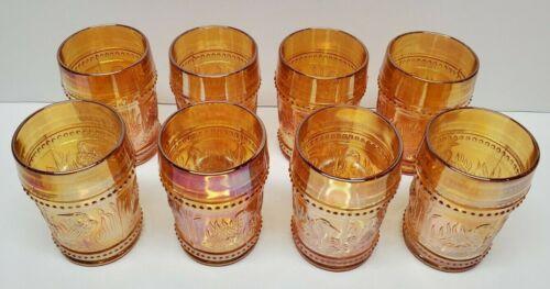 Lot of 8 L.G. Wright Glass Marigold Carnival Glass Beaded Stork & Rushes Glasses