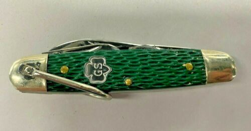 Vintage KUTMASTER UTICA N Y GIRL SCOUT 4 bld knife GS logo inlaid silver shield