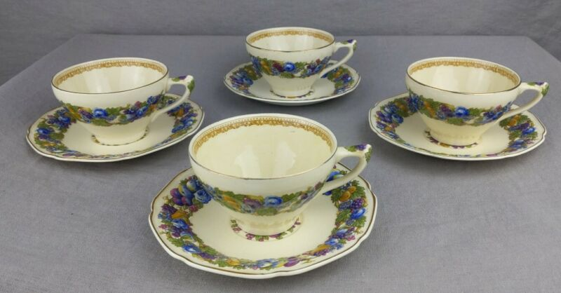 Crown Ducal China Florentine 1954 Cup & Saucer Set of 4 England