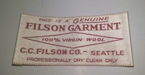 Filson Embroidered Label / Patch, circa 1997, Maroon / Cream, MINT, Made in USA