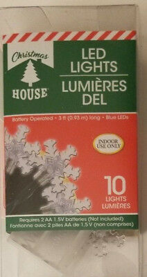 (Christmas House Clear Snowflakes LED String Lights 10ct 3 Feet Long w)