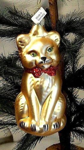 Cute Golden Kitty Cat/Kitten w Red  Blown Glass Christmas Tree Ornament  Germany