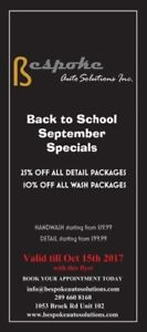 Back to School Specials, upto 25% off Detail packages