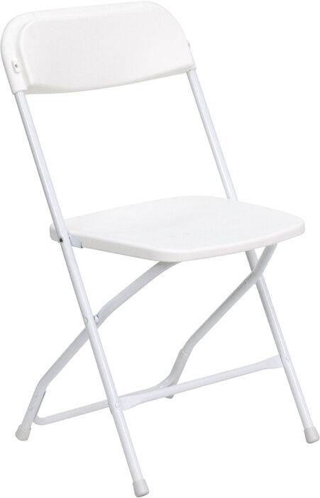 Lot Of 150 White Steel Frame Folding Chairs With 800 Lb Capacity