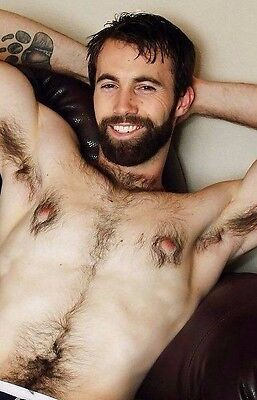 Shirtless Male Hairy Chest Pits Bearded Hunk Beefcake PHOTO 4X6 D169