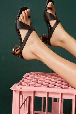 Jaggar the label square leather tortoise heel sandal slide black 60% OFFsize 37