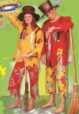 Kostüm VOGELSCHEUCHE CLOWN Hippie Hut Anzug Flicken Jute bunt rot gelb 50- 54/56