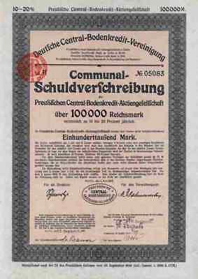 Central Bodenkredit 1923 Preußen Berlin 100.000 RM Zinsscheinbogen Übergröße