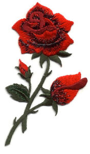 ROSE W/BUD RED FULLY EMBROIDERED IRON ON APPLIQUE PATCH