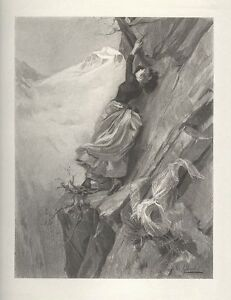 WOMAN MOUNTAIN CLIMBING EXCITING ANTIQUE ART PRINT