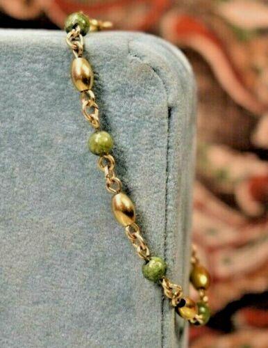 Estate antique 14K yellow gold nephrite Jade bracelet