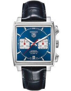 NEW TAG HEUER MONACO CAW2111.FC6183 AUTOMATIC CHRONOGRAPH BLUE LEATHER WATCH