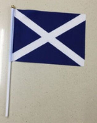 SCOTTISH ST ANDREW SALTIRE HAND WAVING FLAG 5 Pieces 9 X 6'' approx