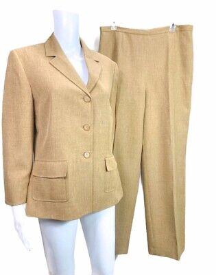 Le Suit Tan CamelBrown Pantsuit 2 Pc Blazer Jacket Pants Size 12