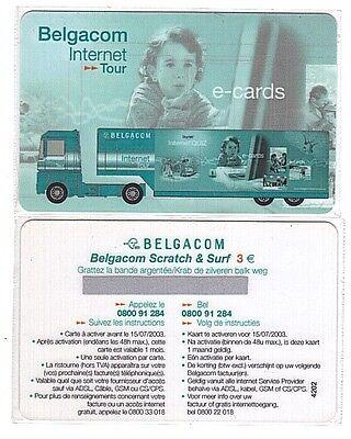 Belgique - Belgacom Internet Tour - Scratch & Surf 3 Euro - Neuve RARE