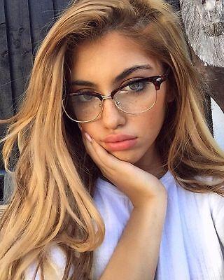 Half Rim Metal (Eyeglasses Gafas CLUB Half Rim Women  Wayf Clear Lens Shadz Metal)