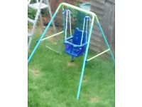baby swing green and blue double gift very good condition