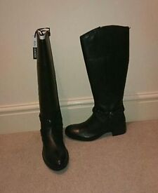 Designer Black leather high boots, size 5 (38) NEW