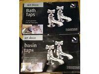 £80 Art Deco Bath and Basin Taps (Brand New) (Still Boxed)