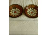 "Two vintage style lampshades, 13 & 3/4"" in diameter"